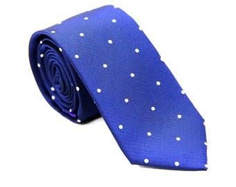 Navy Blue Skinny Tie with White Polka Dots | Dotted Poka Ties for Men | Spotted Ties for Wedding | Groomsmen Ties
