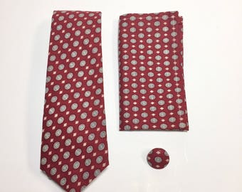 Men's Necktie, red Pocket Square, red tie, foulard design, lapel pin, wedding accessory, holiday gift, Suit Accessory, groomsmen gift