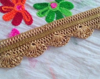 Copper Woven Trim, Indian Saree Border Lace, Home Decorative Trim, Dress Embellishment Lace, Sew Fabric, Craft Ribbon, By The YardTTNLFT270