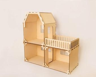 Doll House - Girls Doll House, Dollhouse, Wooden Doll House, Doll House For Girls, dollhouse with a terrace, miniature dollhouse