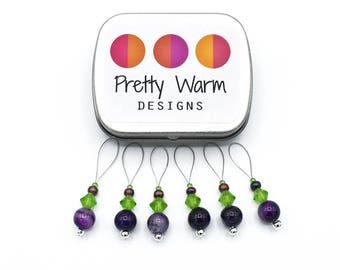 Progress Keepers - Purple Stitch Markers - Knitting Accessories - Snag Free Stitch Markers - Beaded Stitch Markers - Gift for Knitters