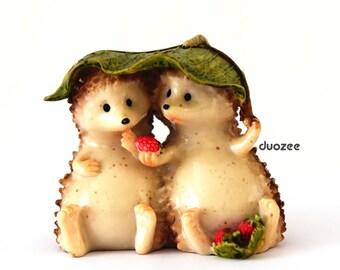 Hedgehog Figurine, Miniature Enchanted Garden Fairy Garden Hedgehog Figurine Sharing,  Hedgehog Gifts, Hedgehog Figure