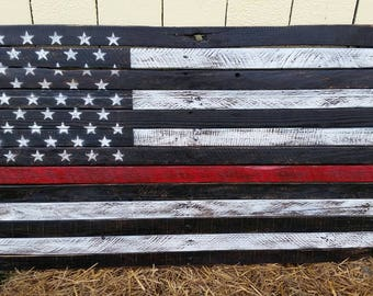 Thin Red Line Flag, Firefighter flag, Rustic pallet flag