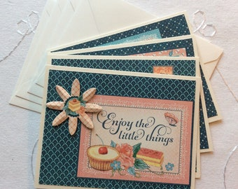 Note Cards with Envelopes, Set of 4 Blank Cards, Graphic 45 Cafe Parisian Paper