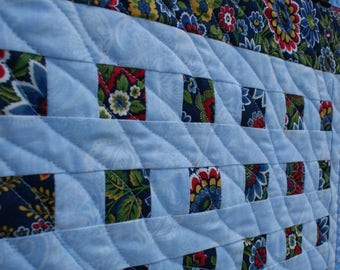 Doll quilt in primary colors and light blues - ENTIRE purchase price to charity
