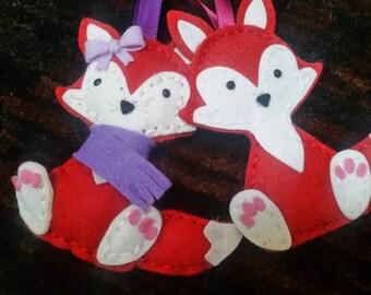 Felt fox ornament