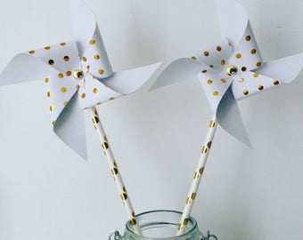 Gold & white pinwheels for decoration