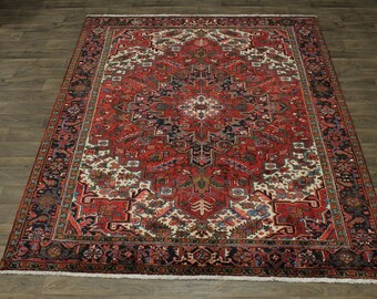 Awesome Great Shape Geometric Heriz Persian Wool Rug Oriental Area Carpet 8X10