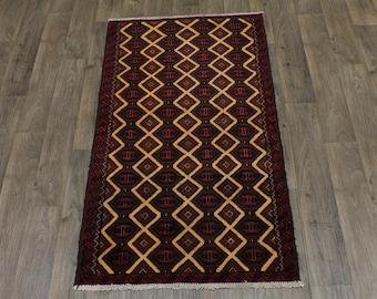 Stunning Pattern Semi Antique Rare Balouch Persian Rug Oriental Area Carpet 3X6