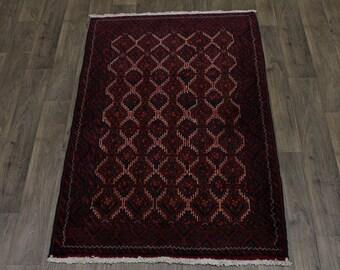 Vintage Handmade Tribal Medium Size Balouch Persian Rug Oriental Area Carpet 4X6