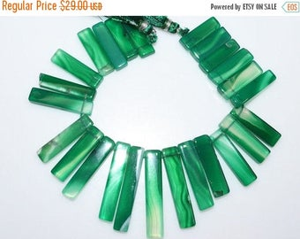 "50% OFF 1 Strand Beautiful Green Onyx Drilled Stick Beads - Green Onyx Elongated Stick Beads , 12x6 - 35x7 mm , 7"" - BL2378B"
