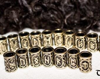 Viking Beard Bead Runes Hair Jewelry Futhark Charm Germanic Bronze