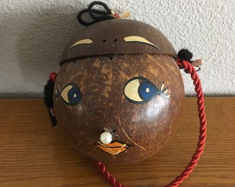 Vintage Coconut Purse- Mid Century Decorated Coconut Purse- 1960's Coconut Girl Face Souvenir Purse