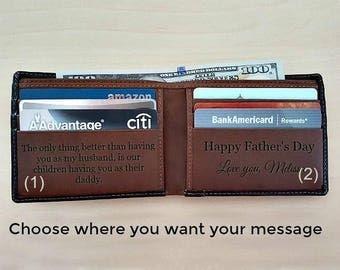 Personalized slim wallet • Slim men's wallet • Father's Day gift • monogram slim wallet • custom slim wallet • black/toffee 7720