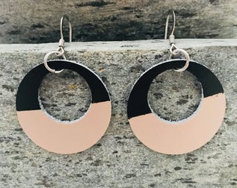 Black Dipped, Rose Gold Geometric Leather Oval Cutout Earrings