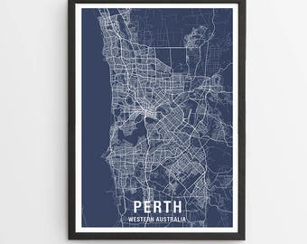 Perth Area Map Print - Various Colours / Australia / City Print / Australian Maps / Giclee Print / Poster