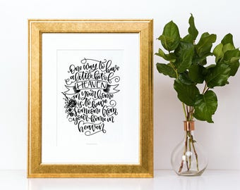 Heaven In Your Home -PDF File - Digital Download - Handlettered Print - Free With Code