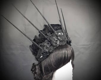 Burlesque Gothic big Halo Kokoshnik with flowers appliques, lace and feathers, Frenchhood lace with floral applications and feather trim
