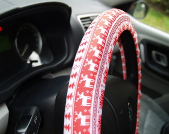 Red steering wheel covers Winter car accessory for woman Birthday gift Birthday deer Car decor for man Accessory for woman Car decorations