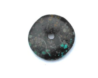 30mm Turquoise Stone Donut Pendant / Black with Multi Colors / Genuine Turquoise Stone / Turquoise Blue / Green Brown / Jewelry Making