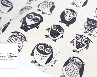 50cm | Waterproof Fabric | Linen | Black and White | Owl