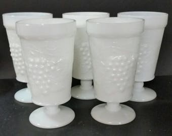Vintage mid century milk glass parfait or drinking glasses.  Set of 5. Grape and leaf design
