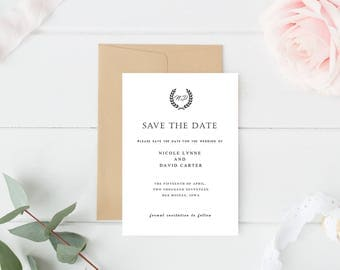 Simple Rustic Wedding Save the Date, Rustic Save the Date, Laurel Save the Date, Simple Black and White Save the Date, Wedding Announcement