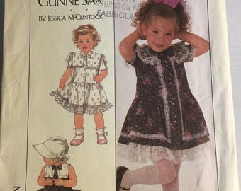 RARE 8528 Vintage Simplicity Gunne Sax Toddler Dress Pattern by Jessica McClintock Size 3