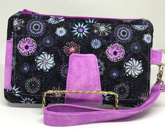 Pearl Clutch Wallet, Stylish Wristlet, Billfold, Cell Phone Wallet, Bridesmaid Gift, Aboriginal Print, Goanna Walkabout Blooms Navy