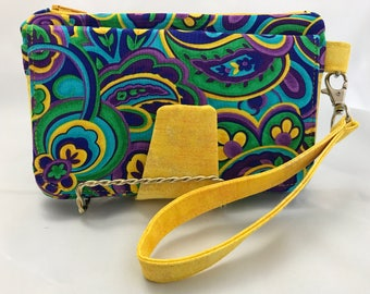 Pearl Clutch Wallet, Stylish Wristlet, Billfold, Bridesmaid Gift, Unique Present,  Yellow,Blue Purple Paisley