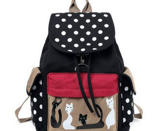 Vintage Cat Cartoon Canvas Backpack