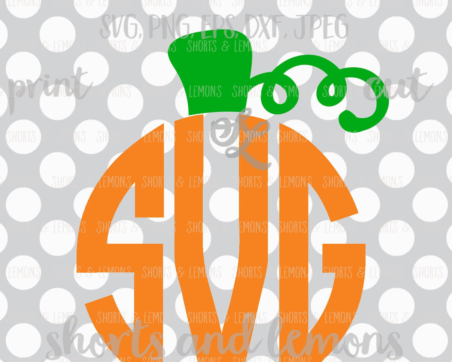 Pumpkin Monogram Svg Halloween Svg Cute Halloween Svg