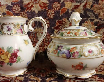 Schumann Empress Dresden Flowers Creamer and Sugar with Lid 1945-49 US Zone Germany