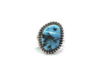 Navajo Handmade Sleeping Beauty Turquoise Sterling Silver Ring Size 7-Scott Skeets