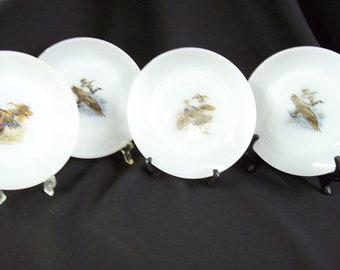 Fire King Game Bird Bread & Butter Plates - Set of 4