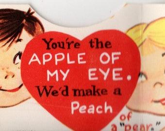 Vintage Apple of My Eye Die-Cut Children's Classroom Valentine's Day Card