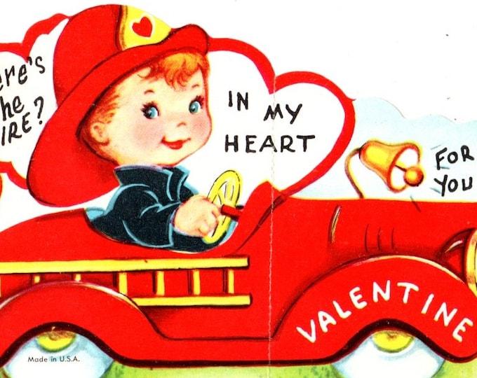 Vintage Boy Where's the Fire in my Heart? Valentine Die-Cut Children's Classroom Valentine's Day Card UNUSED