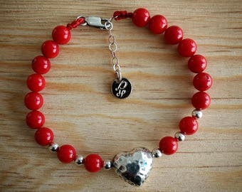 Silver bracelets, Corazon bracelets, braclets for women, red bracelet, love bracelet, couples bracelet, beaded bracelet