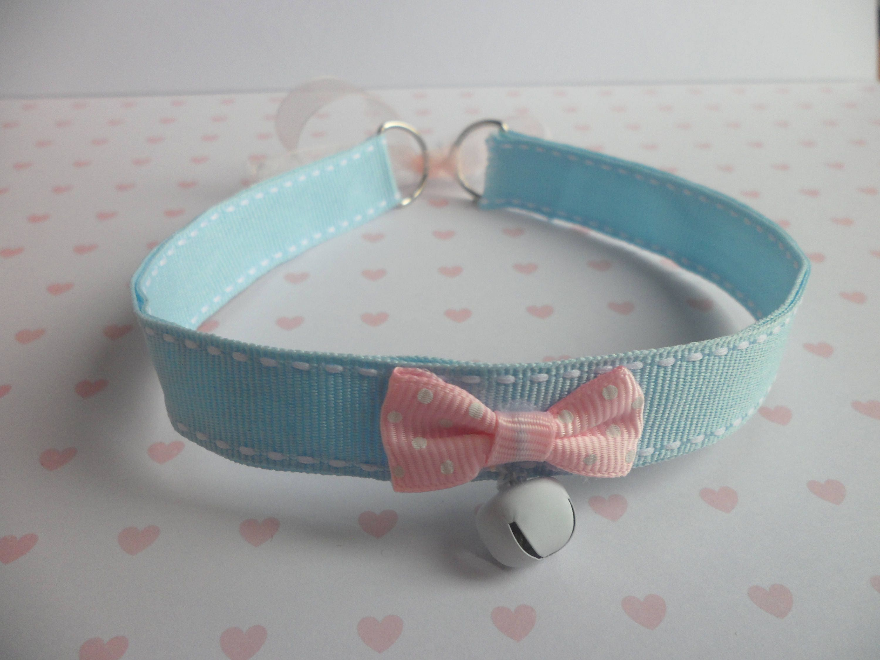 Thin Kitten Collar Baby Blue Ribbon Collar With White Bell Pink Bow Ddlg