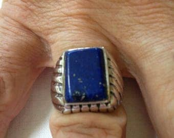 Man's Lapis Ring in Sterling Silver