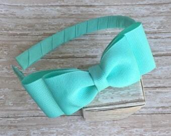 Aqua headband with a bow, girls headband, plastic headband, aqua bow headband, back to school headbands, girls hard headband with bow