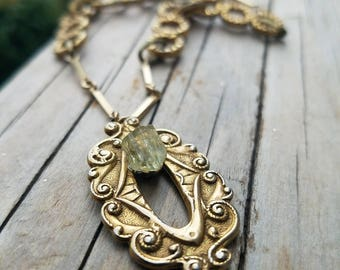 Yellow Apatite crystal gemstone - vintage gold necklace with ornate setting - Self-Actualization