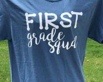 Teacher Shirts, Grade Level Teacher Squad Shirts, First Grade Squad, Second Grade Squad, Third Grade Squad, Fourth Grade Squad