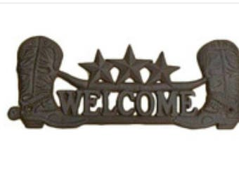 """14""""x5""""H Cast Iron Cowboy Boots Welcome Sign"""
