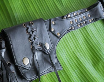 Leather utility belt, festival hip bag, boho chic, waist bag, goa, festival fashion, burning man, hip bag, fanny pack, lether belt bag