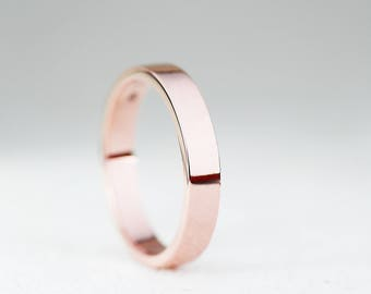 3mm Width Wedding Band Ring-9ct/14ct/18ct Rose Gold Flat Profile Wedding Band-Gold Men's Wedding Band Ring-Handmade to Order