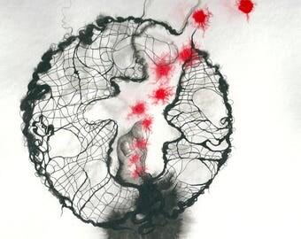 """Art contemporain - Encres sur papier """" Cavités"""" Oeuvre originale  - Encre de chine noire et encre rouge"""