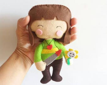 """Chara cute 7 """", hand made felt 20cm, inspired by the video game (unofficial) Undertale"""