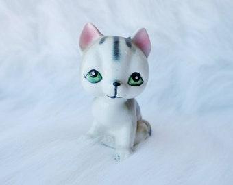 Vintage Cat Decor, Green Eyes, Grey Stripes