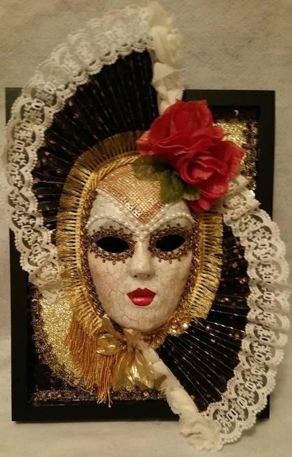 "Handcrafted, One of a Kind, Original, ""Mask of Carmen"" by Maskweaver, Soraya Ahmed, Set in 11 x 14 Inch Black Shadowbox"